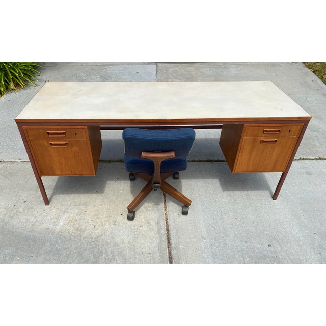 Jens Risom Early Teak, Metal and Vinyl Oversized Desk For Sale In San Diego - Image 6 of 12