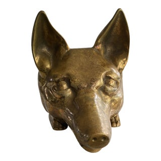 Antique English Brass Fox Doorstop For Sale
