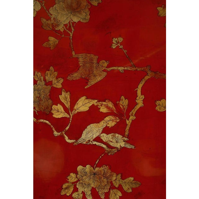 Mid 19th Century Asian Chinese Oval Red Lacquer and Gilt Stencilled Center Table For Sale - Image 5 of 8