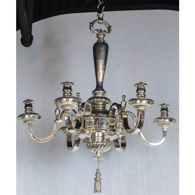 Metal Caldwell Silver Plated Six-Light Chandelier For Sale - Image 7 of 7
