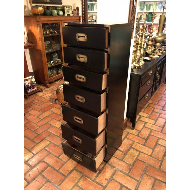 Black Campaign Brass Accent Highboy Chest For Sale - Image 9 of 11
