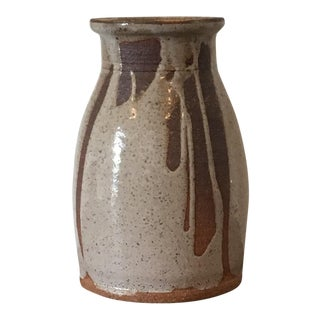 1970s Organic Modern Ivory Speckled Large Studio Pottery Vase