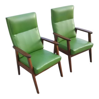 1960s Mid Century Modern Green Vinyl Chairs - a Pair For Sale