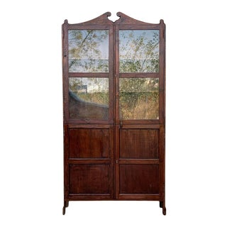 18th Century Cupboard or Bookcase With Glass Vitrine, Walnut, Spain Restored For Sale