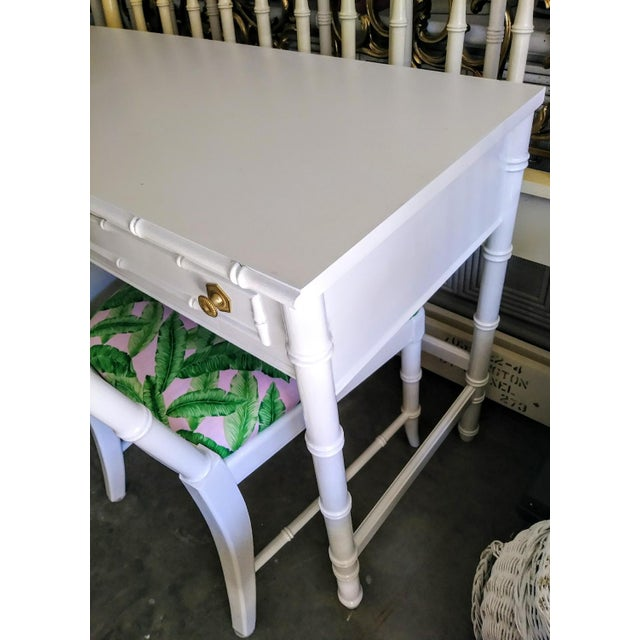 Thomasville Thomasville Vintage Faux Bamboo Palm Beach Regency White High Gloss Desk W/Chair For Sale - Image 4 of 10