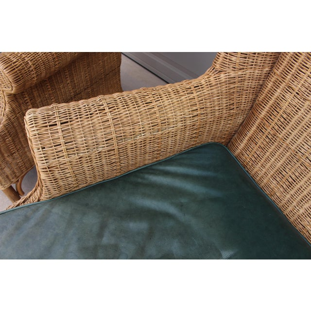 1970s Vintage Henry Link Woven Wicker Wingback Chairs- A Pair For Sale - Image 10 of 13
