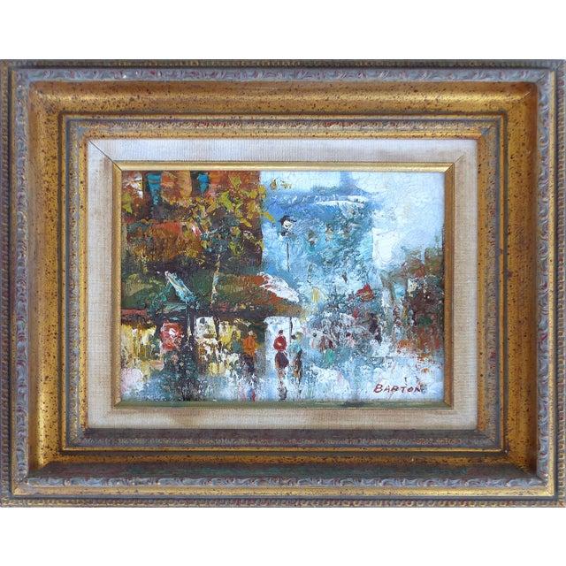 Mid-Century Modern Midcentury Modern Paris Street Scene Oil Paintings- a Pair For Sale - Image 3 of 13