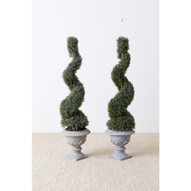 Neoclassical Pair of Faux Spiral Cypress Trees in Urns For Sale - Image 3 of 13