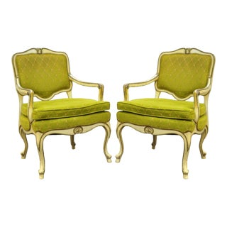 Pair Vintage Hollywood Regency French Louis XV Cream Green Fireside Lounge Arm Chair
