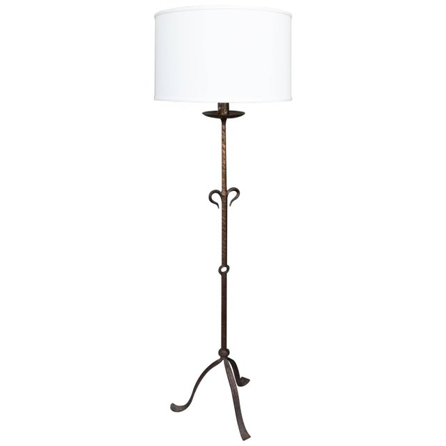 1950s Spanish Wrought Iron Floor Lamp For Sale In New York - Image 6 of 6