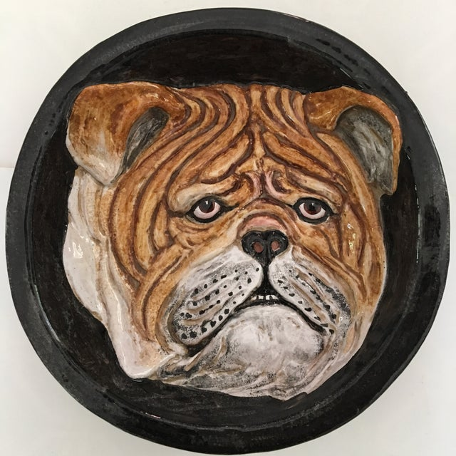 Italian English Animsld: Italian Mid Century Ceramic Bulldog Faced Dish/Wall Art