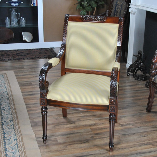 Carved Empire Upholstered Arm Chair - a Pair For Sale - Image 10 of 13