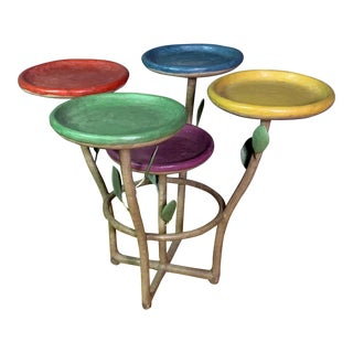 French Artist Designed Polychrome Resin Plant Stand For Sale
