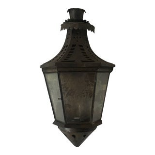 Primitive 3-Sided Tin & Glass Candle Lantern For Sale