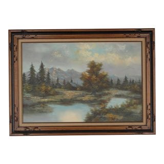 Rustic Impressionist Landscape Signed Oil Painting For Sale