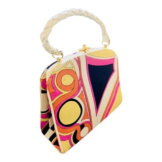 1960s Vintage Emilio Pucci Silk and Leather Purse For Sale