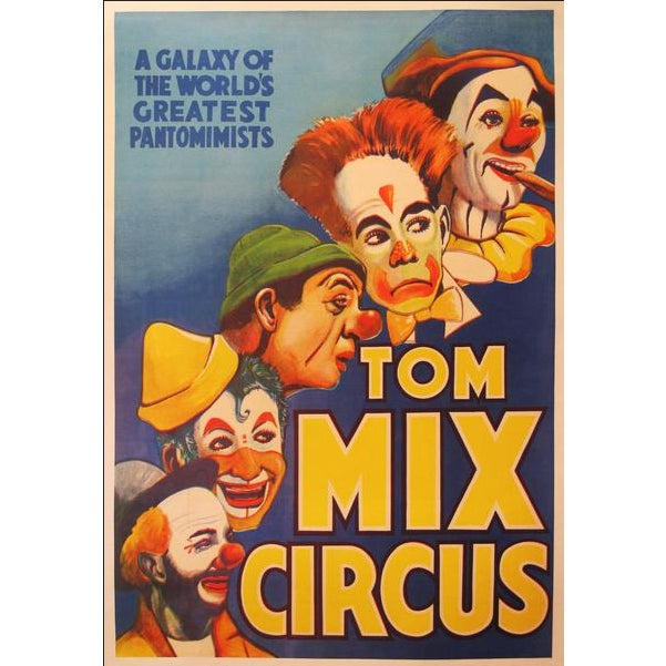 Mid-Century Modern 1938 Original Vintage American Circus Poster, Tom MIX For Sale - Image 3 of 3