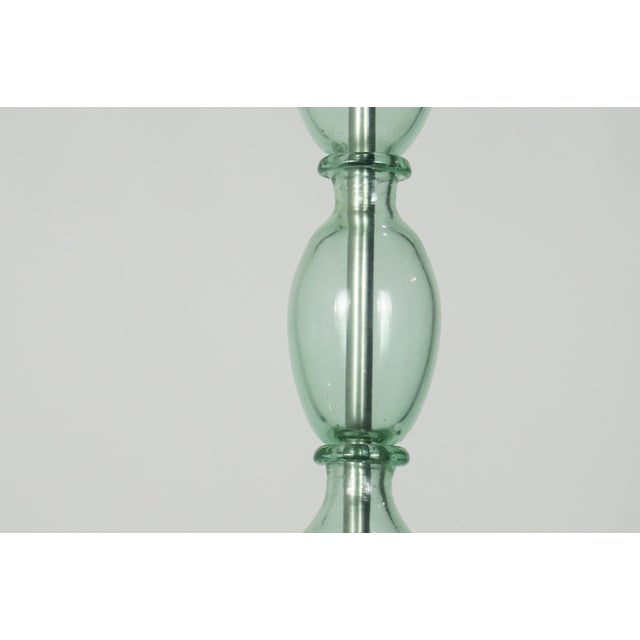 Lovely mid-century aqua Murano chandelier with simple, clean, modern lines. 5 arms with Bobeches. Newly wired, UL listing...