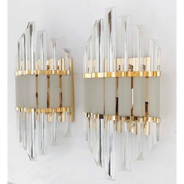 1970s Murano Glass and Brass Wall Sconces - a Pair For Sale In Miami - Image 6 of 7