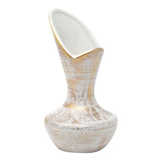 Gold and White Ceramic Vase by Royal Haeger For Sale