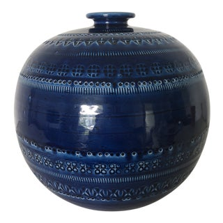 20th Century Italian Bitossi Blue Ceramic Vase