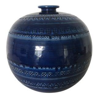 Vintage Mid-Century Italian Bitossi Blue Ceramic Vase