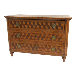 Tumbling Block Parquetry Three Drawer Commode Chest of Drawers German Swiss 18th Century For Sale