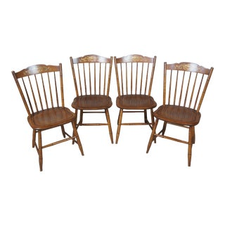 Stonington Maple Hitchcock Stencil Back Windsor Style Dining Chairs - Set of 4 For Sale
