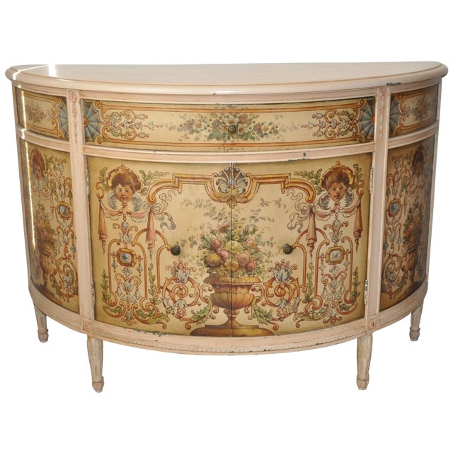 French Painted Demilune Cabinet C. 1940 For Sale