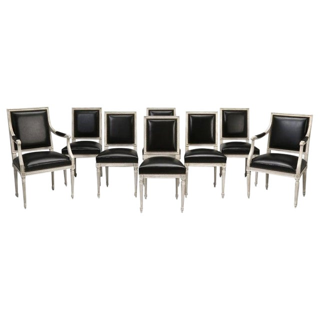 8 Painted French Louis XVI Dining Chairs W/ Leather For Sale