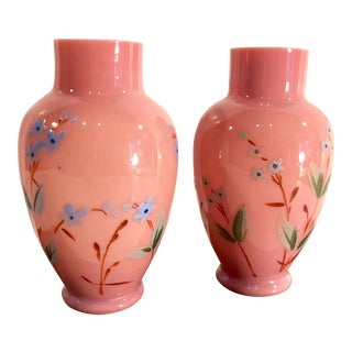 1900s Vintage Sm Continental Bristol Pink Hand Painted Vases - a Pair For Sale