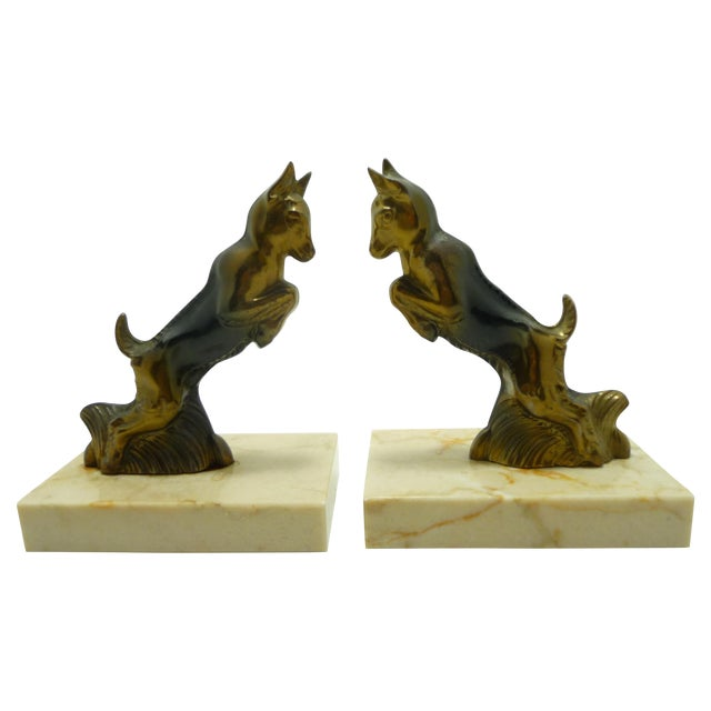 Baby Goats French Art Deco Bookends - A Pair - Image 1 of 7