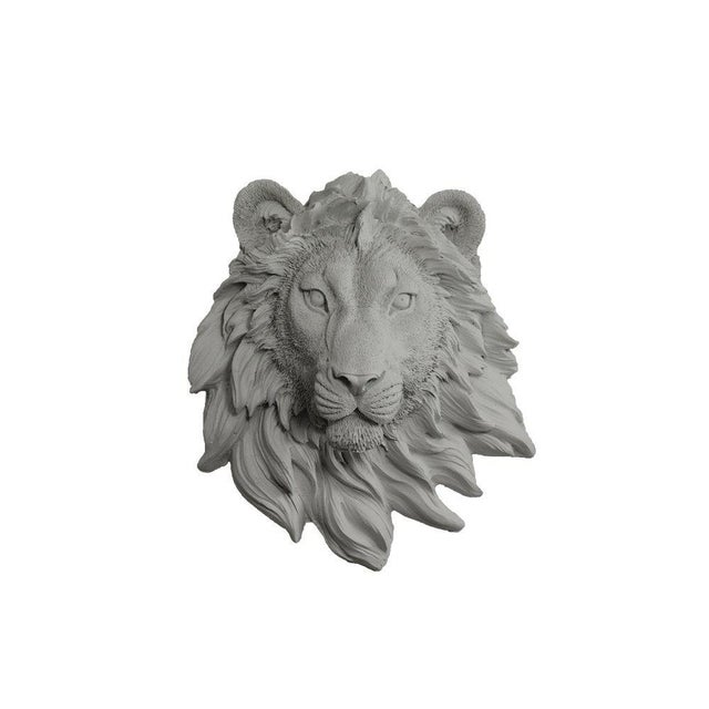Boho Chic Wall Charmers Gray Faux Taxidermy Lion Head Mount For Sale - Image 3 of 3