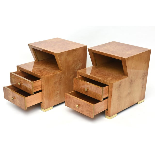 1950s Pair of Sir Edmund Spence Burled Maple Two-Drawer Night or End Tables For Sale - Image 5 of 10