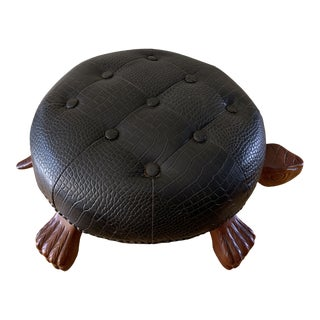 Turtle Tufted Black Footstool For Sale