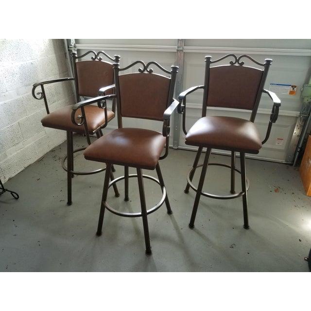 Swivel Leather & Metal Bar Stools - Set of 3 - Image 8 of 10