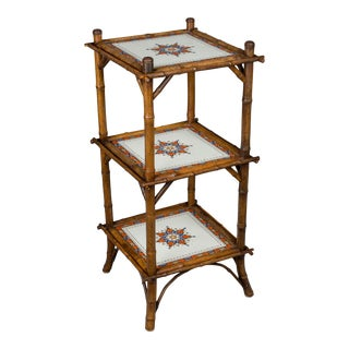 19th Century French Bamboo and Tile Etagere For Sale