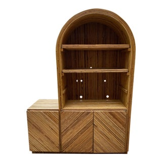 1970s Bamboo Curved Cabinet Style of Gabriella Crespi For Sale