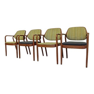 Set of 4 Mid-Century Modern Don Pettit Knoll Walnut Dining Chairs For Sale