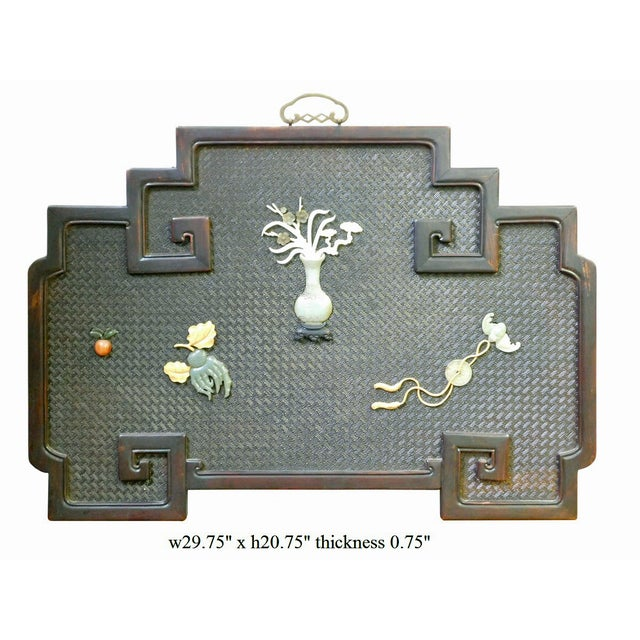 Chinese Rosewood Stone Inlay Wall Plaque For Sale In San Francisco - Image 6 of 6