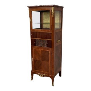 French Late 20th Century Louis XVI Period Mounted Cabinet Vitrine For Sale