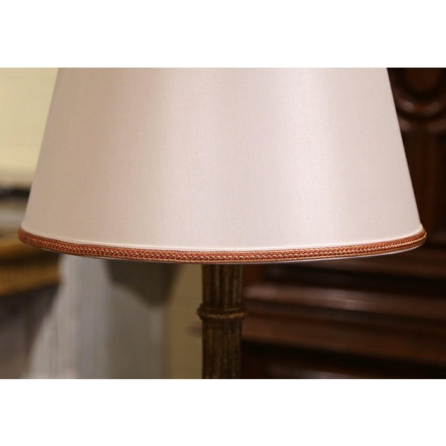 Mid 20th Century Midcentury French Carved Giltwood Table Lamp With Custom Shade For Sale - Image 5 of 10