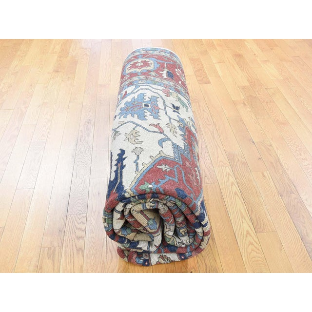 Hand-Knotted Wool Serapi Heriz Tribal Design Rug- 9′ × 11′9″ For Sale - Image 10 of 13