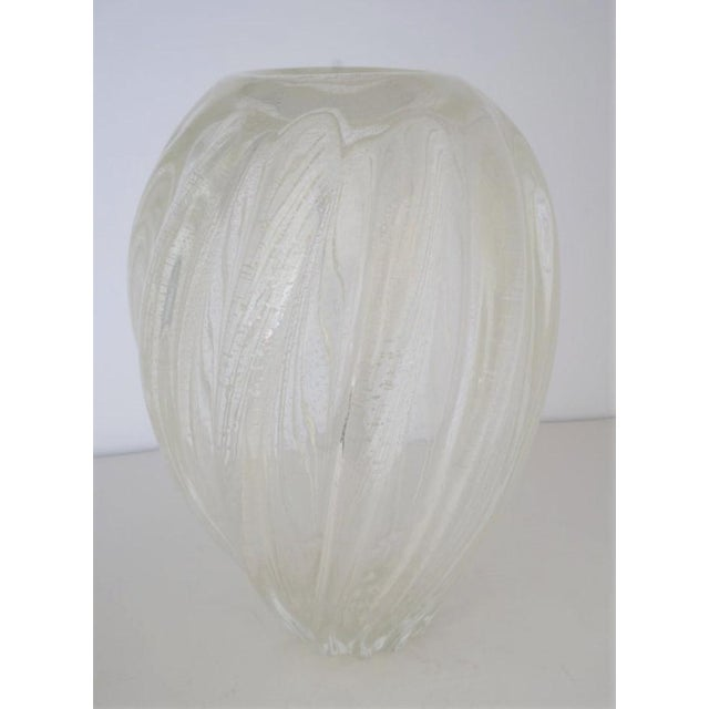 Metal Vintage Murano Glass Vase With Silver Flecks For Sale - Image 7 of 13