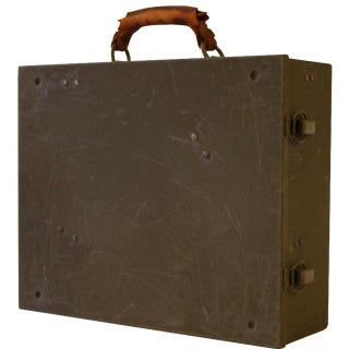 1930s Metal & Leather Tool Box For Sale