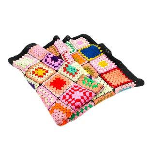 Vintage Hand Crocheted Granny Square Blanket
