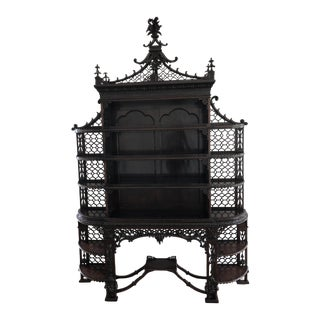 George III Style Carved Mahogany Etagere For Sale