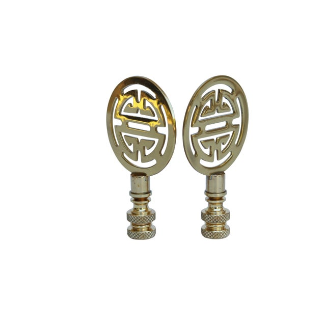 Asian Chinoiserie Style Solid Brass Lamp Finials - a Pair For Sale - Image 3 of 4