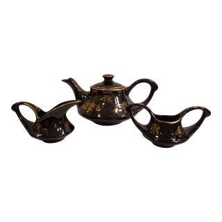 Mid-Century Pearl China Co. Glossy Black With 22 Kt. Gold Tea Pot, Cream and Sugar Tea Set - 3 Piece Set For Sale
