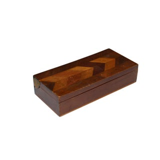 Herringbone Walnut Trinket Box For Sale